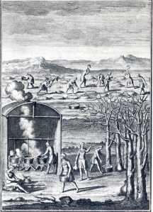 Fabrication du sirop d'érables par les Amérindiens en Nouvelle-France (XVIIIe siècle) par Joseph-François Lafitau.