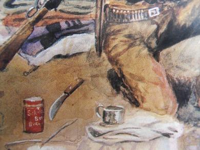 tableau de Charles Russell (détail du couteau)