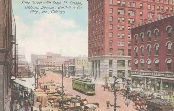 postcard-chicago-state-street-bridge-streetcar-wagons-unloading-hibbard-spencer-bartlett-and-company-building-aerial-1913